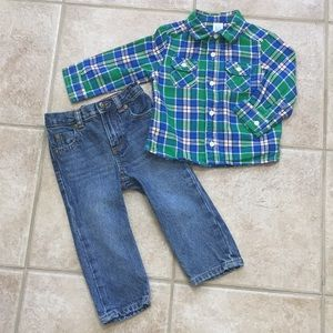 Carter's Boys LS Button Down Flannel Shirt & Jeans